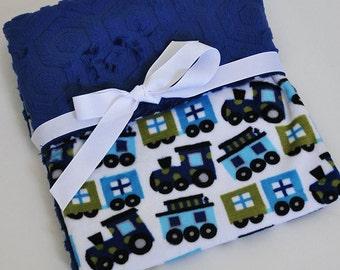 Minky Blanket Minky Baby Personalized Minky Blanket Minky Cuddle Baby Gift Shower Gift Boys Train Blanket
