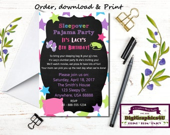 Sleepover or Pajama Birthday Party Invitation for Girls - Personalized, Printable File
