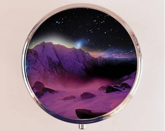 Trippy Outer Space Pill Box Case Pillbox Holder Trinket Psychedelic Surreal Landscape Universe