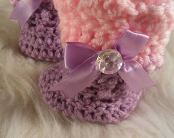 Newborn Baby Crochet booties, Pink and Lavender baby shoes,baby gift