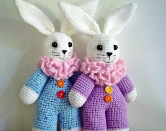 """PDF PATTERN crochet toy """"Little bunny in overall with lace collar"""" step by step tutorial/ toys for kids/ retro style rabbits"""