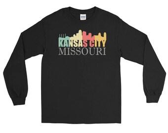 Trendy Retro 1970's Kansas City Missouri Skyline Long Sleeve T-Shirt