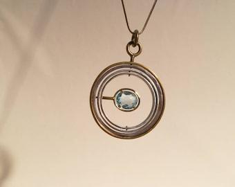 Pendant silver/gold /metal9 /aquamarine
