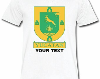 Yucatan Mexico T-shirt V-Neck Tee Vapor Apparel with a FREE custom text(optional)