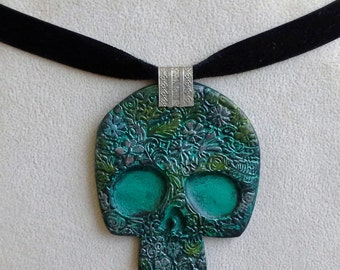 Black Turquoise Soft Colors Sugar Skull Pendant Day of the Dead Halloween Necklace