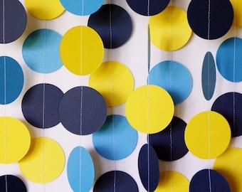 Boys Birthday Decoration, Navy, Yellow & Blue Circle Garland, Paper Dots, Baby Shower Decor, 10 ft. long
