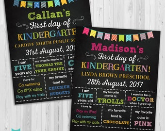 First day of Kindergarten sign, First day of school sign, Girls Kindergarten School Chalkboard poster, 1st day Back to School Sign Printable