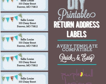 Ocean Beach Return Address Labels Turquoise Avery Template