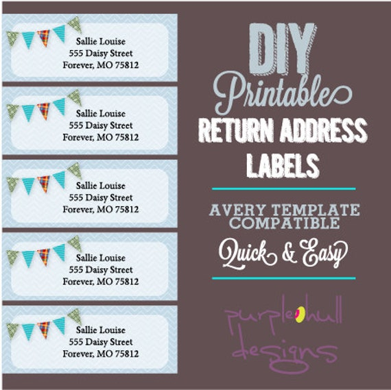 Pennant Banner Bunting Return Address Labels Avery Template