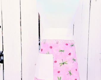 Shabby Chic Pink Dragonflies & Ladybugs Print Vintage Style Half Apron With Pocket|Handcrafted Hostess Vendor Craft Teacher Apron