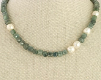 Moss Agate Pearl Necklace Kasumi Edison Blue Green Elegant