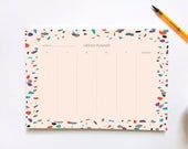 Weekly Planner Notepad, A4 Notepad, Terrazzo, Desk Notepad, To Do List Notepad, Family Planner, Stationery, Life Organizer, Gift for Her
