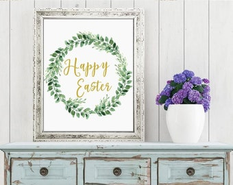 Easter Printable Digital Wall Art - Happy Easter with Greenery