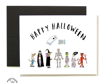 Happy Halloween Character Card Set - A2 - Blank