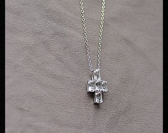 Sterling Silver White Topaz Cross Necklace