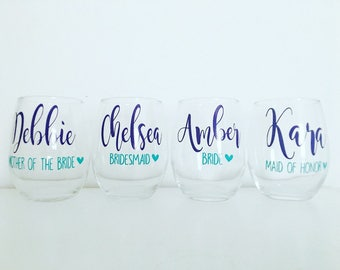 Set of 3 or 4 Bridesmaid Wine Glasses - Bridal Party Wine Glasses - Bridesmaid Gift - Personalized Wine Glasses - Name on Wine Glass