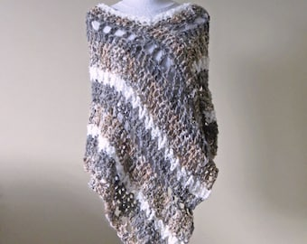 "Crochet Poncho PATTERN / Asymmetrical Poncho / Striped Wrap / Easy Beginner PDF Pattern / Made in Canada / ""Sofia Poncho"""