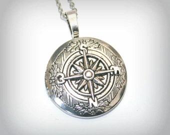 Compass  - Silver Locket Necklace  - Wedding Birthday Bridesmaids Gift-Locket Personalized Jewelry Family Locket (v)