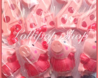 12 Peppa the pig and number chocolate lollipops (Birthday, peppa pig party favors, peppa party)