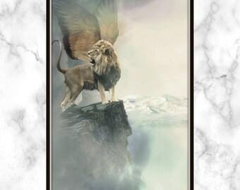 Myth Lion Print - Lion with Wings Print - Lion Print - Mythical Lion Print - Myth Print - Mythical Animal Print - Fantasy Print