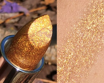 MIDAS TOUCH Gold Glitter Lipstick or Sample- Vegan friendly.