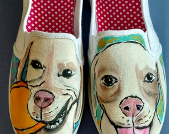 Custom Dog Shoes-Pet Shoes-Hand Painted-Your Pet Painted on Shoes-Slip on Shoes-Vans-Generic Slip on Shoes-Art on Shoes-Personalized Shoes-