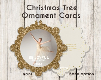 Christmas Tree Ornament Holiday Card: Glittered Gold Be Joyful  (Digital File or Printed Cards)