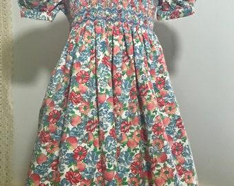 Vintage Sarah Louise Smocked Floral Dress