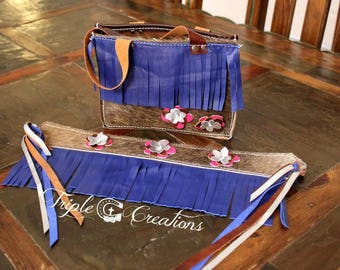 Cowhide with Blue Fringe - Little Cowgirl Belt and Purse Set