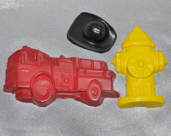 12 Fire Truck,12 Firemen Hats, 12 Fire Hydrant Recycled Crayons.  Boy or Girl Kids Unique Party Favors, Crayons.