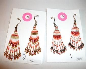 Gold White Orange n Dark Orange Earrings  D