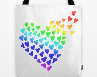 LGBT Tote, Gay Pride Tote, Rainbow Tote, Lesbian Tote, Hearts Tote bag, Rainbow Tote, Love Tote, Marriage Equality, Gay Gift, 80s Tote, art