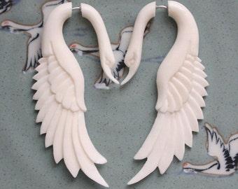 Fake Gauge Earrings - LATA Swan - Natural White Bone - Hand Carved Jewelry