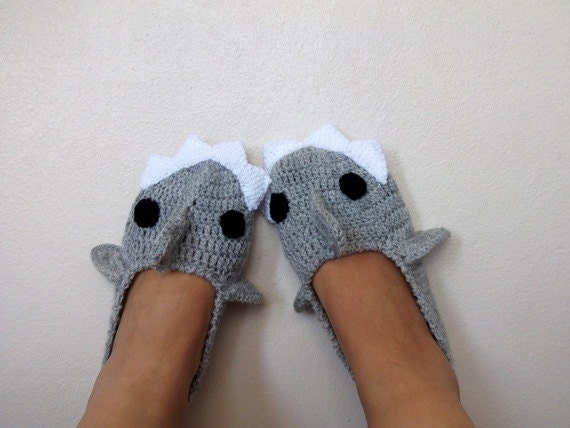 Adult sizegrey crochet shark slippers house shoes crochet like this item dt1010fo