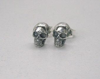 Tiny Human Skull Ear Studs Sterling Silver