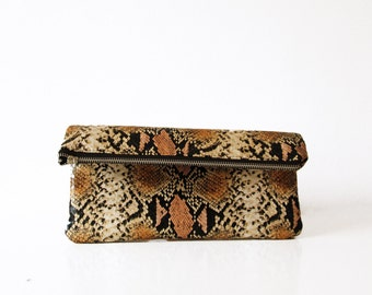 Snakeskin foldover clutch, Clutch bag purse, Animal print, Fold over clutch