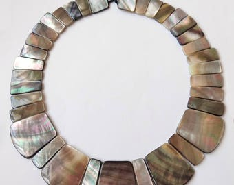 The most Amazing Black Lip Mother of Pearl Shell Collar Necklace Only ONE available J7595