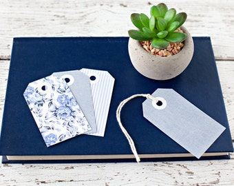 Set of 12 shabby chic tags, blue tags, denim tags, gift tags, paper goods, blue, flowers, gifts for her, denim, stripes
