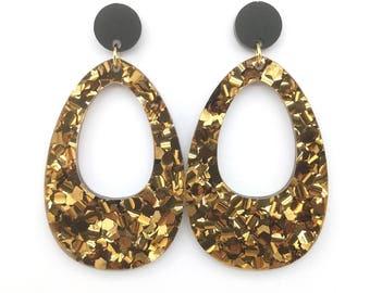 Chunky Bronze Glitter Large Hollow Egg Earrings