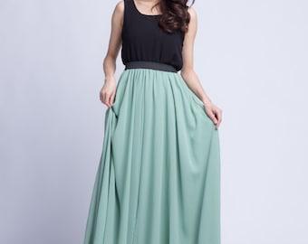 High Waist Bridemaid Skirt Chiffon Long Skirts Beautiful Elastic Waist Summer Skirt Floor Length Beach Skirt (101) ,78#