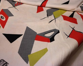 White Field with Black Red Grey and Chartruese - Vintage 1950s Barkcloth Fabric -MCM -Atomic Architecture- Abstract City Scape-Space