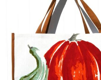Pumpkin Farmers Market Bag - Autumn Tote Bag - Pumpkins - Gourds