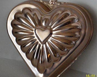 Vintage Copper Heart Jello Gelatin Mold