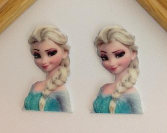 Frozen Elsa Planar Resin Set of 2 - Frozen Cabochon - Elsa Hair Bow Center - Queen Elsa Flat Back Resin-Elsa Planar Resin-Elsa Embellishment