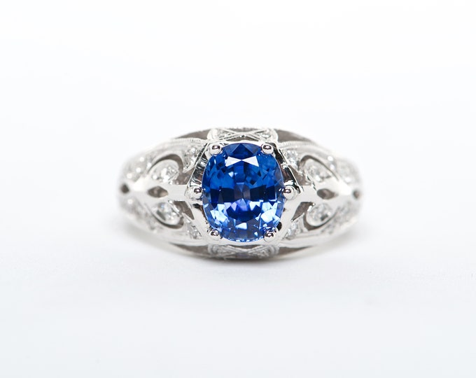 The Sally - GIA Certified 18K blue Sapphire and Diamond ring.