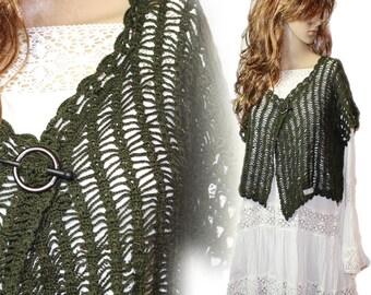 Hand crochet handmade vintage crochet vest bolero shabby chic size 42