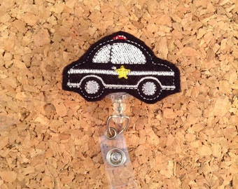 Badge Reels, POLICE CAR Badge Reel, Felt Planner Paper Clip, Magnet, Brooch Pin, Bookmark, Bag Charm, Bookmark, Support the Blue, 911