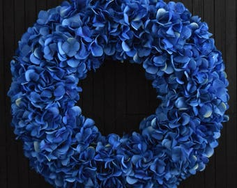 Royal Blue Spring Summer Hydrangea Front Door Wreath