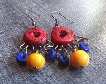Earrings dangling colored ceramic yellow, red and blue glass beads