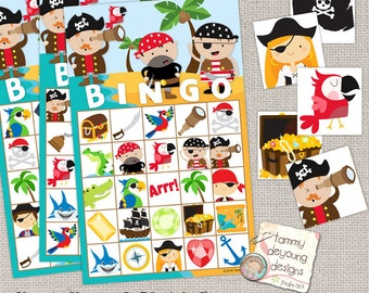 Pirate Bingo Game, Printable Pirate Bingo Cards, Kids Game, Pirate Birthday Party favor,  preschool classroom activity, pirate matching game